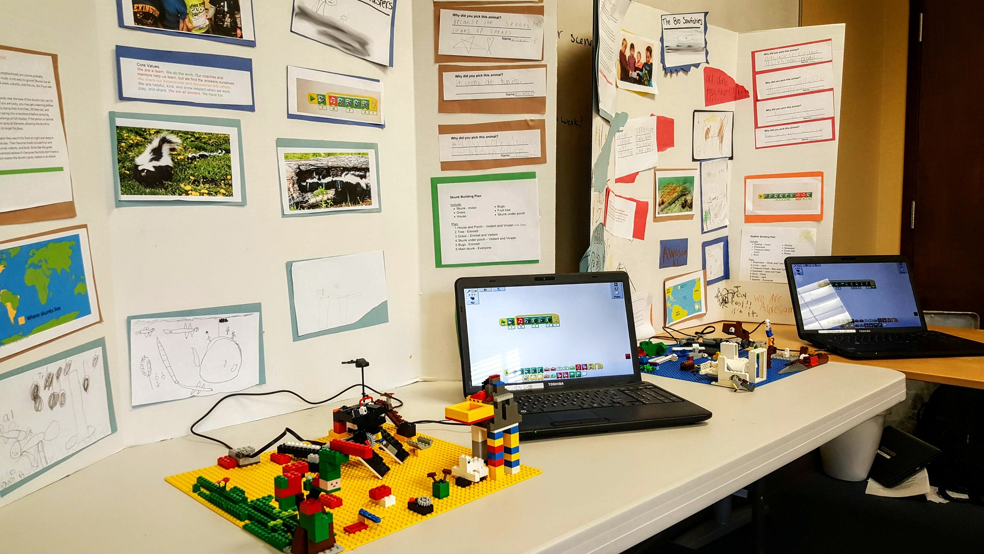 pictures of FLL Jr presentations and projects built with LEGO and WeDo