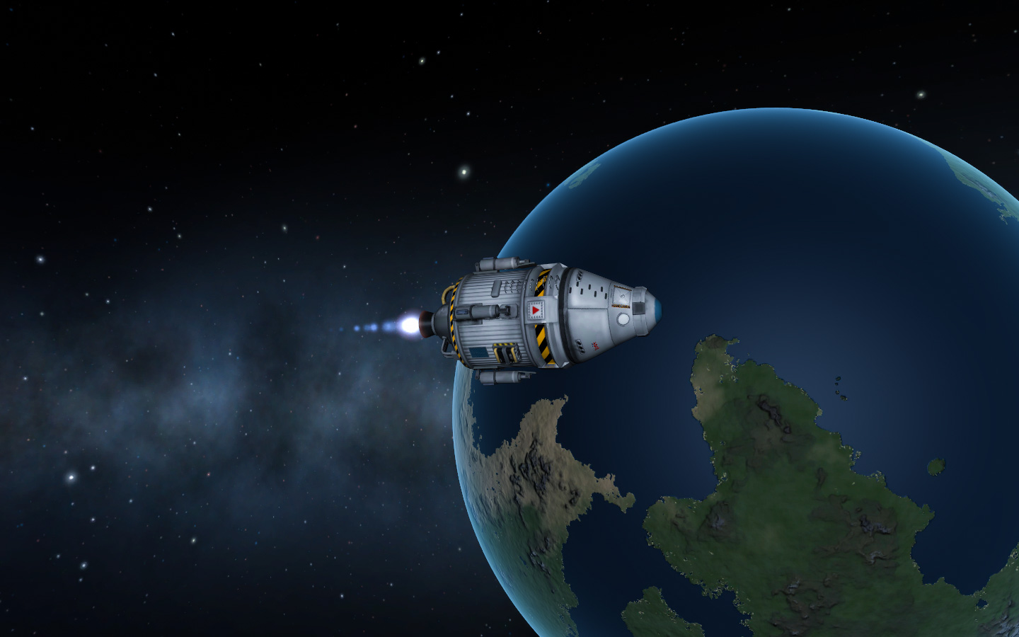 screenshot from Kerbal Space Program of a rocket flying over a blue, Earth-like planet