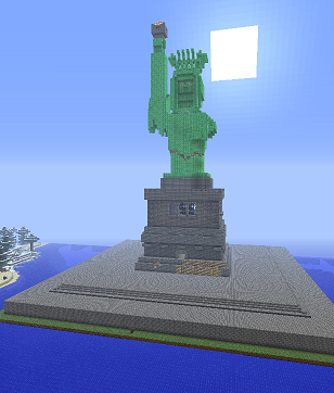 a screenshot of the Statue of Liberty built in Minecraft