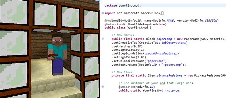 Side-by-side picture of Minecraft Steve holding a modded tool, next to a page of Minecraft mod code